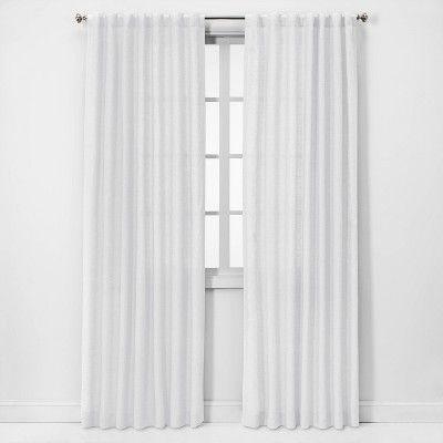 84 X54 Linen Light Filtering Window Curtain Panel White