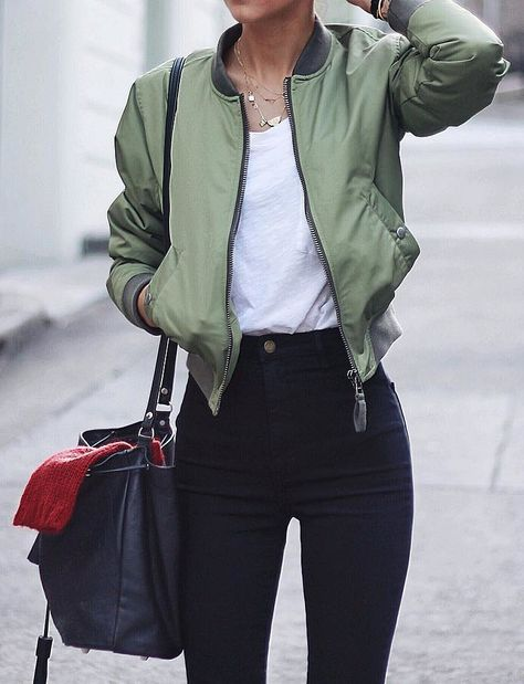 A Bomber Jacket, a White T-Shirt, and Black Jeans. Athleisure street style
