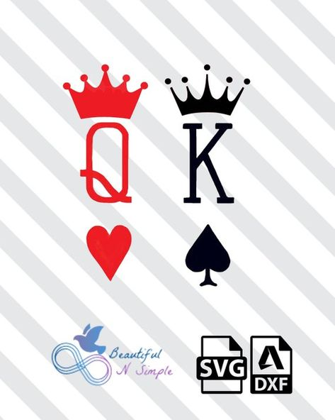 King of Spades Queen of Heart, SVG and DXF File
