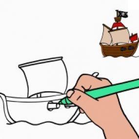 Apprendre à Dessiner Un Bateau De Pirate Dessin Coloriage