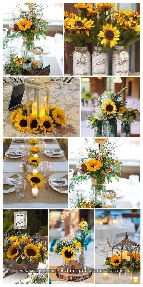 47 Sunflower Wedding Ideas for 2020 <br> Sunflower is a symbol of joy, peace and prosperity.Sunflowers are everybody's love!Sunflower wedding themes represent happiness, vibrancy and prosperity. Sunflower Wedding Centerpieces, Country Wedding Centerpieces, Wedding Cakes With Sunflowers, Yellow Wedding Decor, Sunflower Wedding Bouquets, Rustic Sunflower Weddings, Country Wedding Themes, Sunflower Party Themes, Rustic Wedding Theme