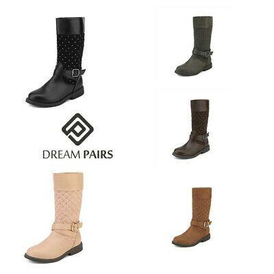 DREAM PAIRS Girls Toddler//Kids Fur Lined Knee High Mid Calf Winter Riding Boots