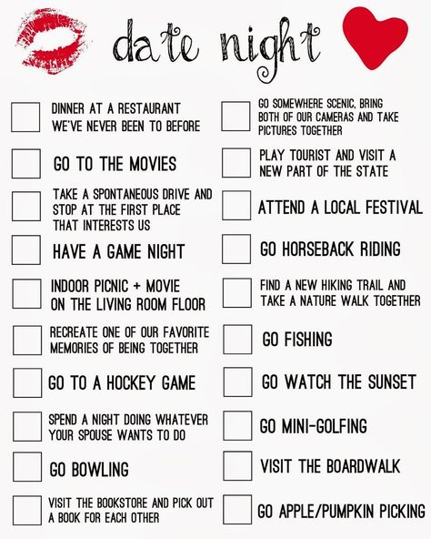 Date Night Ideas Checklist - Free Printable - Living La Vida Holoka