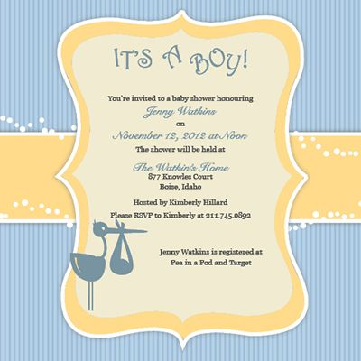 Customizable baby shower invitation from moderngreetings.com - It's a Boy Stork Design