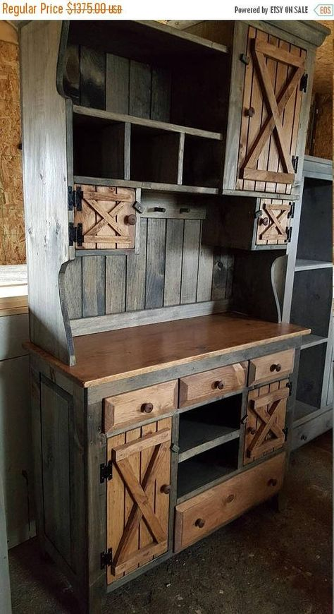 Step back cabinet , primitive furniture / rustic farmhouse furniture / kitchen cabinet hutch buffet / country furniture - Kitchen Furniture Storage Rustic Farmhouse Furniture, Primitive Furniture, Country Furniture, Pallet Furniture, Kitchen Furniture, Furniture Design, Furniture Stores, Cheap Furniture, Discount Furniture