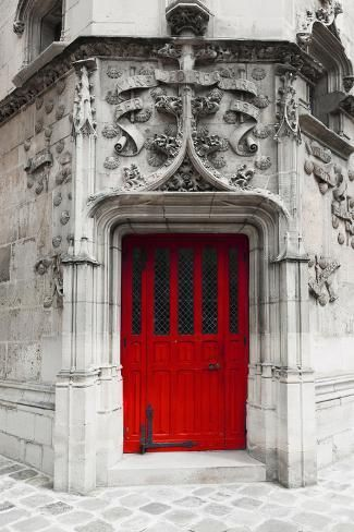 Paris Decor Red Door Gray White Red Architecture Art by Raceytay