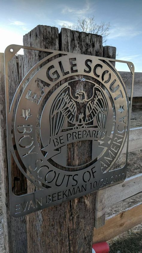 Eagle Scout Personalized Metal sign. 12 gauge steel.
