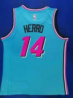 Sponsored Tyler Herro 14 Mens Jersey Miami Heat Blue Pink Jersey Blue Miami Miami Heat Jersey