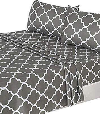 Amazon Com Utopia Bedding 4 Piece Bed Sheet Set Queen Grey 1 Flat Sheet 1 Fitted Sheet And 2 Pillow Cases Hotel Qua Bed Sheet Sets Bed Utopia Bedding
