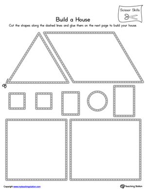 Practice scissor skills by building a house in this printable