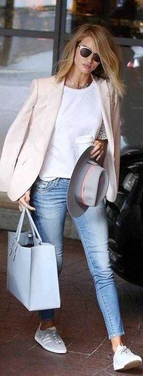 Shirt – Chloe  Purse – Balenciaga  Sunglasses – Dior  Hat – Michel Maison  Shoes – Adidas  Jeans – AG  Bracelet- Cartier  Necklace – Annina Vogel  Jacket – Stella McCartney