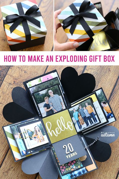 How to make an Explosion Box {cheap, unique DIY gift idea!} - It's Always Autumn - How to make an Explosion Box {cheap, unique DIY gift idea!} – It's Always Autumn How to make an Explosion Box {cheap, unique DIY gift idea!} – It's Always Autumn Diy Gifts For Girlfriend, Diy Gifts For Mom, Diy Gifts For Friends, Diy Gift Box, Boyfriend Gifts, Fun Gifts, Diy Crafts Box, Craft Box, Boxes For Gifts