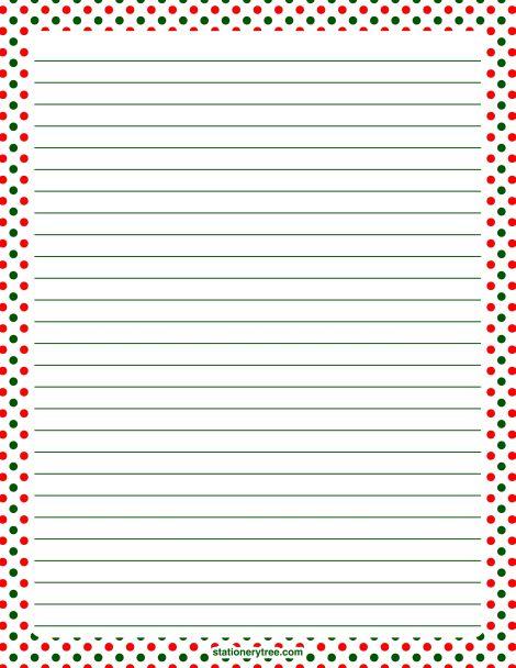Printable Christmas polka dot stationery and writing paper - printable writing lines
