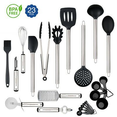 23x Stainless Steel Kitchen Utensil Set Cooking Tools Gadgets Nonstick Cookware Silicone Kitchen Utensils Kitchen Utensil Set Stainless Steel Kitchen Utensils