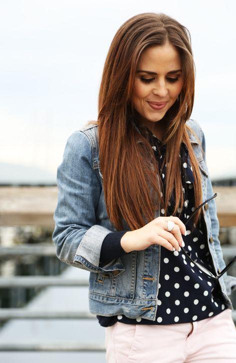 polka dot top and denim jacket