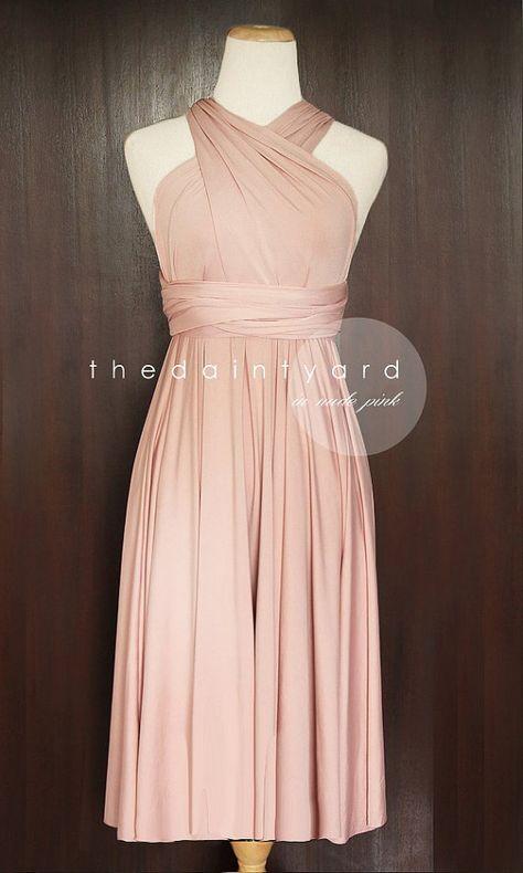 Kurze gerader Saum nackt Rosa Brautjungfer Cabrio Kleid Infinity Kleid Mehrwege-Kleid Wrap Kleid Hochzeitskleid