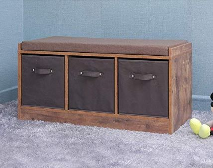 Iwell Rustic Storage Bench With 3 Removable Drawers Entryway Bench Storage Bench With Removable Cush Rustic Storage Bench Entryway Bench Storage Storage Bench