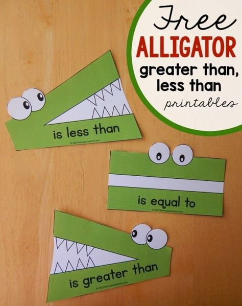 """Less than, greater than"" math activity – using toys These alligator great than, less than printables are wonderful for comparing numbers! Math For Kids, Fun Math, Math Math, Math Fractions, Multiplication Strategies, Comparing Fractions, 4 Kids, Second Grade Math, Sixth Grade"