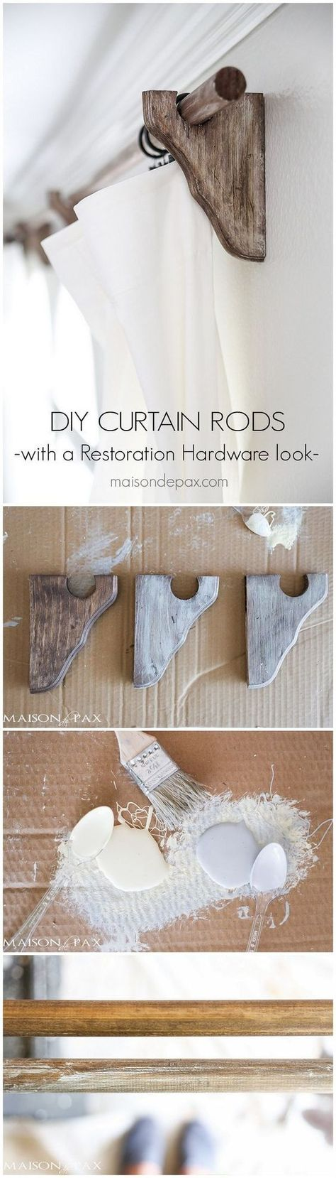 Wood Curtain Rods With A Restoration Hardware Look Con Imagenes