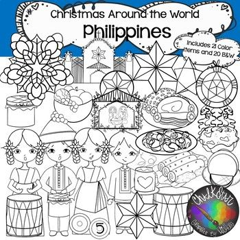 Philippines Clip Art Christmas Around The By Chalkstar Teachers Pay Teachers Clip Art Philippines Outfit Drawing Set