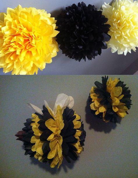 Bumble Bee theme...set of 5 poms/birthday decor/pomanders/DIY wedding/nursery decor/bug theme/animal theme/black and yellow/ on Etsy, $22.50