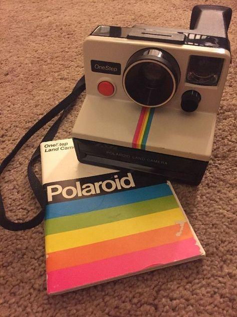 Vintage Polaroid One Step White Rainbow Stripe Instant Land Camera TESTED Vintage Polaroid One Step White Regenbogen Streifen Instant Land Kamera