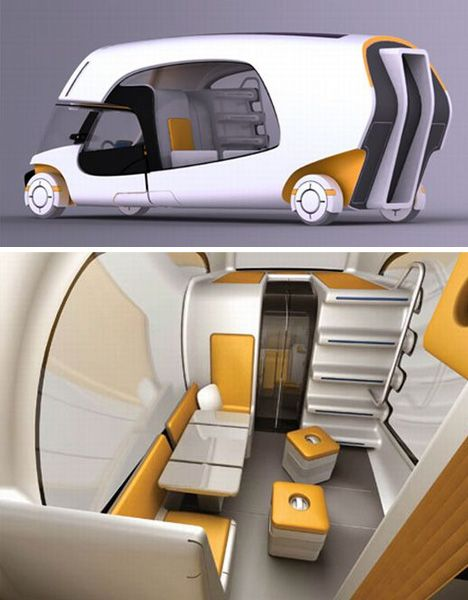 Modular Motorhome – Hybrid Camper Car Plus Caravan Combo.  The larger back-end trailer takes its cues from classic VW-type campers, maximizing space with a lofted sleeping area, flip-down table-and-chairs set as well as compact storage solutions set into any remaining available areas. Curved lines also recall traditional Airstream trailers, which make maximum use of sleek streamlined exterior forms and more spacious-seeming inside spaces.