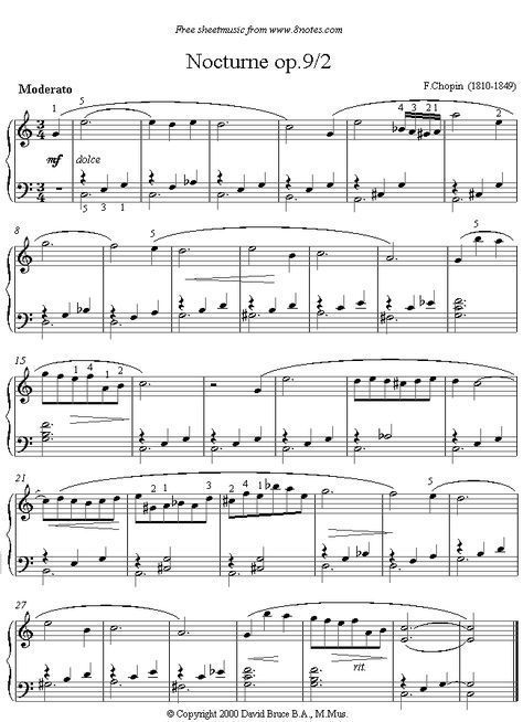 Chopin Nocturne Op9 No2 Sheet Music For Piano With Images