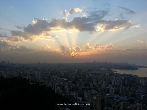 View of Sunset at Beirut Jal El Dib