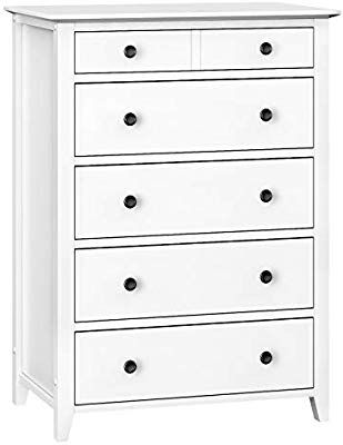 Amazon Com Vasagle Chest Of Drawers 5 Drawer Dresser With Solid Wood Frame Storage Unit For The Bedroom Living Dresser Drawers Solid Wood 5 Drawer Dresser White wood chest of drawers