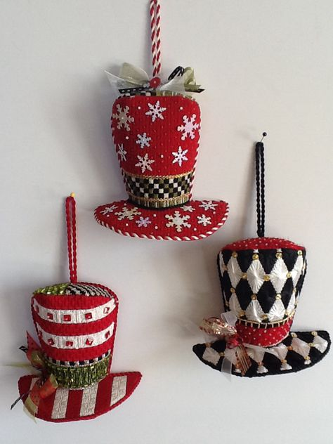 Kelly Clark top hats, stitched by Polly V. at Park Avenue Needlepoint