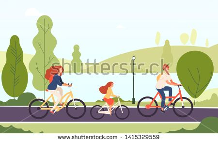 Stock Vector Family Riding Bikes Happy Parents Daughter Cycling