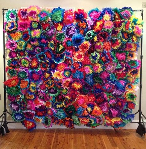 Mexican Themed Weddings, Mexican Wedding Decorations, Paper Pom Poms, Tissue Paper, Tissue Flowers, Quinceanera Party, Mexican Quinceanera Dresses, Quinceanera Decorations, Paper Flower Wall