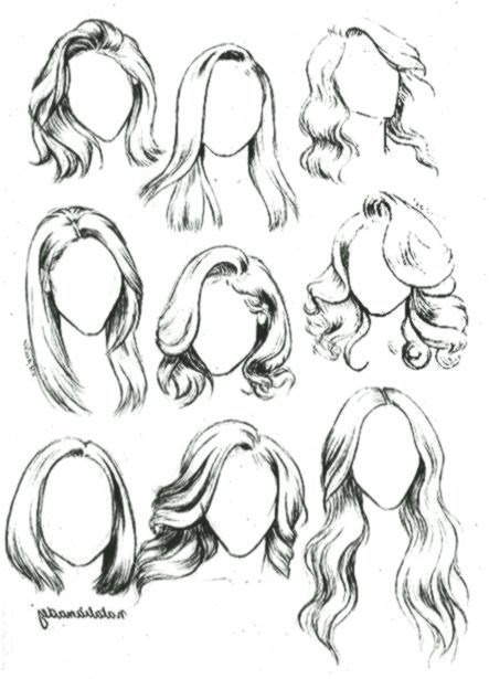 Tutorial Curly And Wavy Hair Series Page 7 By Reirobin Deviantart Com On Deviantart Manga Hair Hair Sketch Anime Hair