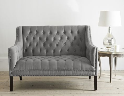 Sophisticated 2 seater sofa in grey velvet upholstery with hand - led für wohnzimmer