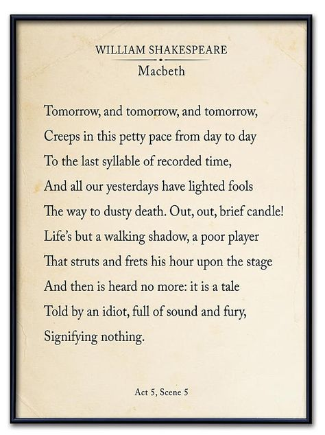 Macbeth Out Out Brief Candle Fine Art Print Book Page Style