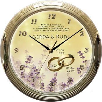 Goldene Hochzeitsuhr Motiv 15 Lavendel Geschenke Zur
