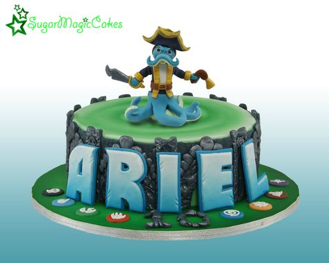 Skylanders swap force portal of power cake. Wash buckler topper and gumpaste name. This cake travelled all the way to spain :-)