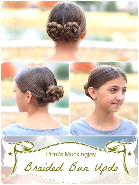 Prim's Braided Bun Updo | Mockingjay.  Love this for dance and other sports where the hair has to be pulled back tightly.   #hairstyles #CuteGirlsHairstyles #CuteGirlHair #sporthairstyle #hairstyle #mockingjay