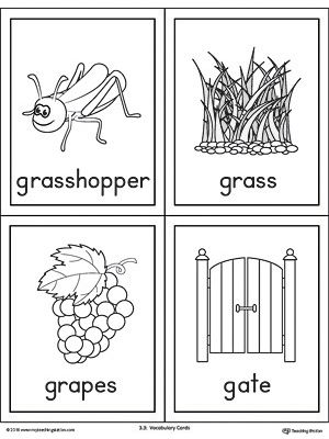 Letter G Words And Pictures Printable Cards Grasshopper Grass Grapes Gate G Words Printable Cards Letter G Crafts