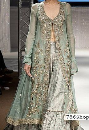 Sea Green Chiffon Suit | Buy Pakistani Fashion Dresses and Clothing Online in USA, UK