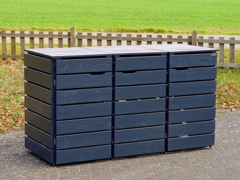 3er Mulltonnenbox Mulltonnenverkleidung Holz Fur 120 L 240 L Tonnen Oberflache Anthrazit Grau Mulltonnenverkleidung Mulltonnenverkleidung Holz Und Mulltonnenbox