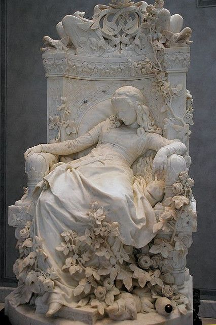 This sculpture, named Sleeping Beauty, was made in 1878 and is located in Germany. Many people love to come and see this amazing sculpture done by Ludwig Sussmann Hellborn. Ludwig Sussmann Hellborn was a famous German artist. Art Et Architecture, Cemetery Art, Cemetery Angels, Cemetery Statues, Angel Statues, Art Sculpture, Sculpture Ideas, Oeuvre D'art, Art History