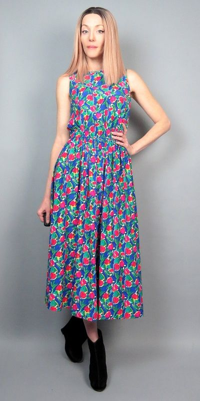 90s Floral Print Dress Medium 1990s Tank Sleeveless