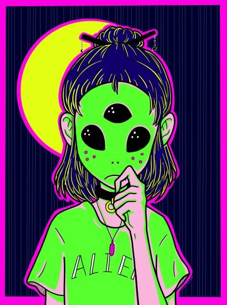 Digital Illustration By Claireclockwork Alien Wallpaper