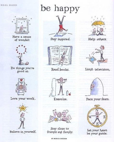 Things to do to be happier. Great reminder.  #behappier #wonder #stayispired #helpothers #loveyourwork #excercise #faceyourfears