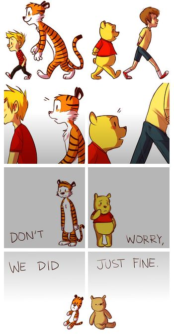 This made me really sad. Like really sad. I love Pooh & I love Calvin and Hobbes-I think I have the comic books still. Omg can't believe I'm all grown up and going to college :'( Disney Pixar, Disney Memes, Disney And Dreamworks, Disney Cartoons, Triste Disney, Calvin And Hobbes, Disney Love, Disney Anime Style, Sad Disney