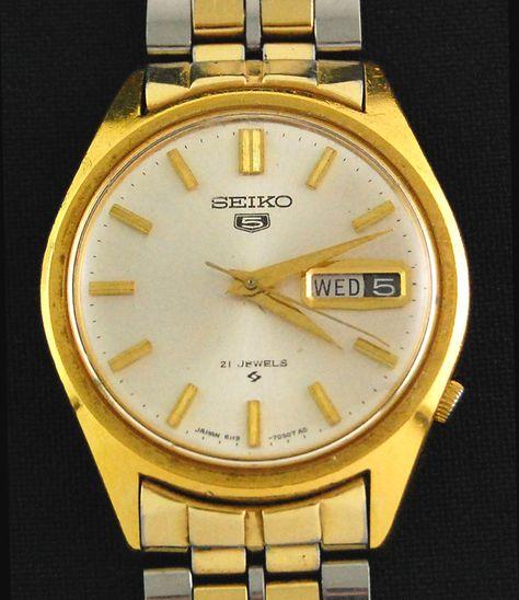 Mens Seiko 5 Five Automatic 6119-7000 Wrist Watch w/Day & Date 21j Tutone