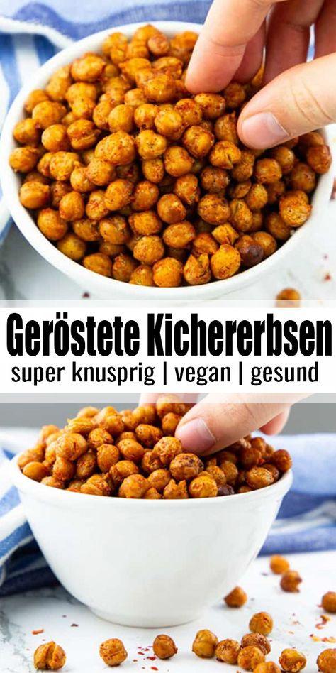 Geröstete Kichererbsen sind solch ein toller und gesunder Snack! Sie sind himmlisch würzig, ein wenig scharf und sehr einfach zuzubereiten. Sie sind perfekt als Party-Snack, fürs Snacken vorm Fernsehen, als Salat-Topping und auch für unterwegs! Mehr gesunde vegane Rezepte findet ihr auf veganheaven.de! #vegan #vegetarisch