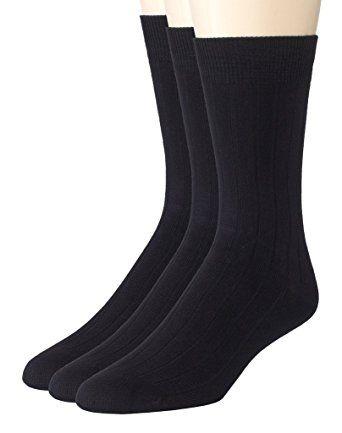 5 PAIRS MEN/'S DRESS SOCKS SIZE 10-13  COTTON RIBBED SOLID BLACKS CREW  SOFT